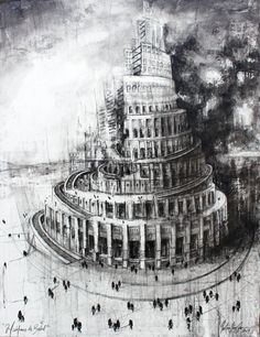 Immanuel Kant trusted that Illustration would liberate the human being from it's immature self guilt, centuries afterwards, the dependence on tutors and any Akkadian Empire, Tower Of Babel, Anime Scenery Wallpaper, Ancient Persia, Ancient Mesopotamia, Mixed Media Canvas, Architecture, Contemporary Art, April 20