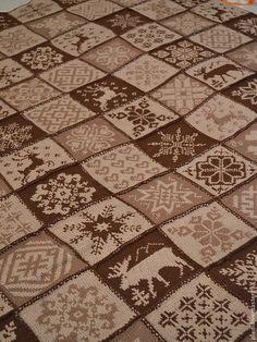 """Плед """"Норвежский капучино"""" - коричневый,вязаный,вязание спицами,норвежский узор"""