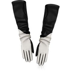 "DIOR CONTRAST ""Dior Bar"" long gloves in black leather found on Polyvore"