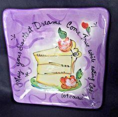 Julia Junkin BIRTHDAY Dreams CAKE Purple Square Plate Certified International  | eBay