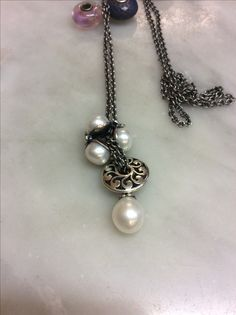 Trollbeads silver necklace and pearls