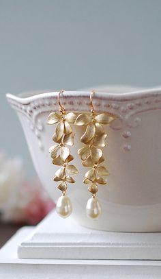 Wedding Jewelry, Bridal Earrings, Long Gold Orchid Swarovski Cream Teardrop Pearls Earrings, Gold Wedding Earrings, Pearl Earrings by LeChaim, www.etsy.com/shop/LeChaim