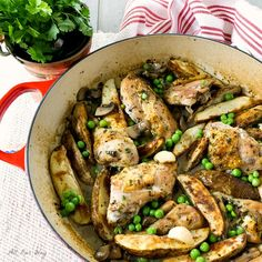 Our Ultimate Chicken Vesuvio is a blend of the best parts in this delicious garlicky dish such as mushrooms, peas, and roasted potatoes in a wine sauce.