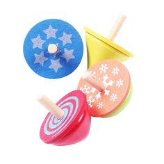 4pcs Kid Child Wooden Classic Gyro Spinning Top Educational Spinning Top Toy Children Gags & Practical Toy Set Gift