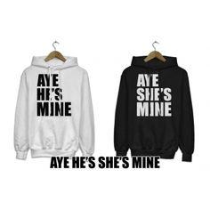 Bluzy z kapturem dla par zakochanych komplet 2 szt AYE HE'S SHE'S MINE