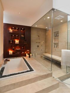 LOVE the wall with candles in the bathroom..so relaxing and romantic!