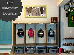DIY Mudroom Lockers: Build them to store all the kids' stuff!