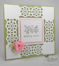card making tutorial: ribbon rosette ... blog has photo tutorial with easy to follow instructions on how to make the sweet pink ribbon rosette on this card ... luv  it!! ... Stampin' Up!