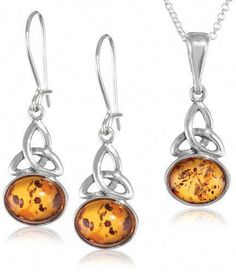 600e30407 Honey Amber and Sterling Silver Celtic Oval Pendant Necklace and Earrings  Set, 18