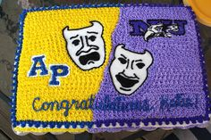 My daughter graduated high school to attend Niagara University for theater. This was her graduation cake representing her high school and college colors!