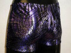 Mens Metallic Lycra Low Rise Hotpants/Shorts Purple by MoonersUK