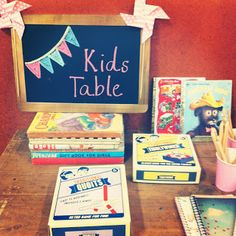 cool idea to have a designated kids area - maybe some low kids tables with coloring books, games, etc Kids Table Wedding, Wedding Reception Activities, Wedding Party Games, Wedding Reception Favors, Kids Wedding Activities, Wedding With Kids, Our Wedding, Reception Ideas, Trendy Wedding