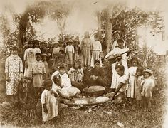 Windward O'ahu family preparing for a luau, circa 1910 (Hawai'i State Archives).