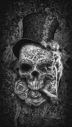 ,3 Digital Art Illustration, Skull Illustration, Datum Tattoo, Art Noir, Totenkopf Tattoos, Skull Artwork, Skull Drawings, Sugar Skull Art, Sugar Skulls