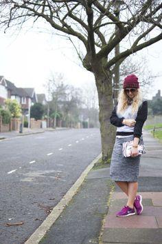 leopard print nike, nike free run, nike trainers, pencil skirt, sweater, studded beanie, street style, london, fashion, blogger