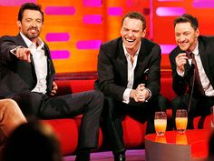Star Tracks: Friday, May 2, 2014   GRAND TRIO   There's nothing like a guy in a suit – let a lone three! Hugh Jackman, Michael Fassbender and James McAvoy share a laugh on the Graham Norton Show in London on Thursday.