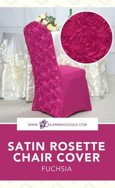 These hassle-free satin rosette spandex chair covers will transform ordinary banquet chairs into decorative fixtures for a wedding reception or upscale garden party. #partydecorations #chairs Banquet Chair Covers, Spandex Chair Covers, Dining Decor, Rosettes, Event Decor, Sash, Party Supplies, Wedding Reception, Wedding Decorations