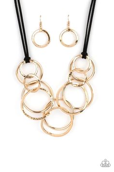 Spiraling Out of COUTURE - Gold Paparazzi Accessories, Paparazzi Jewelry, Necklace Set, Gold Necklace, Hammered Gold, Earring Set, Bling, Black Suede, Gold Rings