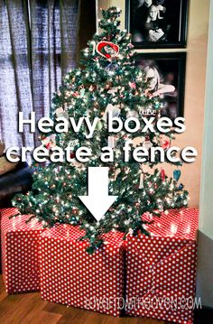 Creating A Faux-Gift Fence Around Your Christmas Tree to help keep babys, toddlers & pets from getting under the tree. At Love From The Oven