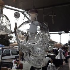 Lamp made from crystal head vodka bottle.