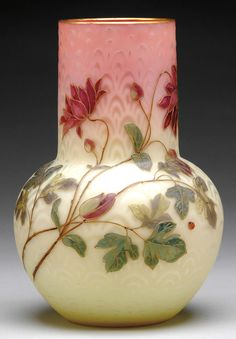 Vase by Mt. Washington Glass Company of Massachusetts, 1885-1895.