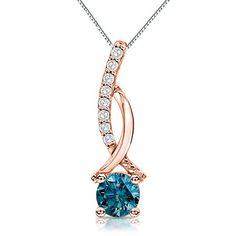 Blue Diamond Pendant in Rose Gold Gold Pendant Necklace, Diamond Pendant, Jade Jewelry, Champagne Diamond, Pendant Design, Jewelry Gifts, Jewellery, Diamond Cuts, Jewelry Design