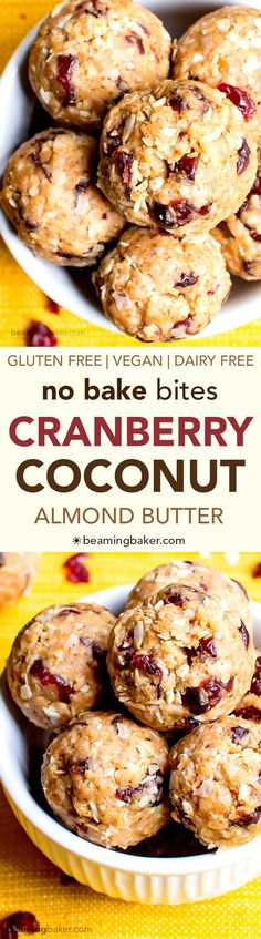 No Bake Cranberry Coconut Energy Bites. Just 7 simple ingredients for delicious protein-packed energy bites. Dairy Free Recipes, Vegan Gluten Free, Vegan Recipes, Snack Recipes, Cooking Recipes, Dessert Recipes, Baking Desserts, Lactose Free, Paleo Dessert