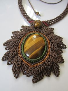 Tiger Eye Macrame Necklace Handmade Creation by PapachoCreations