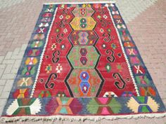 "Turkish Anatolian Antalya Nomads Kilim 74"" x 120 4"" Area Rug Kelim Carpet 