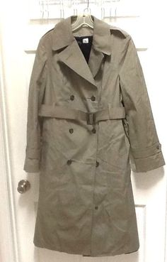 Womens 14 Long Green Double Breasted Trench Coat with Zip Lining US Army #ContractorVIMILInc #Military