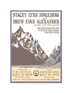 Vintage Mountain Wedding Invitation and Reply Postcard by Orange81, $2.30
