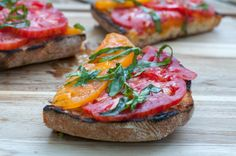 grilled bruschetta with heirloom tomatoes