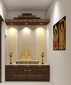 double step pooja unit, canopy above pooja unit, cnc work at pooja backdrop, golden carvings Pooja Room Door Design, Main Door Design, Temple Room, Temple Design For Home, Mandir Design, Puja Room, Bungalow House Design, Bed Design, Design Bedroom
