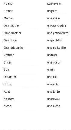 "French Words for Family Members. It's not printed very clearly but the word for ""sister"" is ""une soeur."""