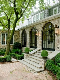Love the stairs and the arched windows. Beautiful houses: the top architecture pins of February 2014 - triple arched windows from Revival Construction {Things That Inspire} Future House, My House, Arch House, Outdoor Spaces, Outdoor Living, Arched Windows, Black Windows, Steel Windows, Steel Doors
