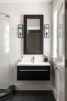 modern powder room vanity Bathroom Contemporary with 3d wall tile black
