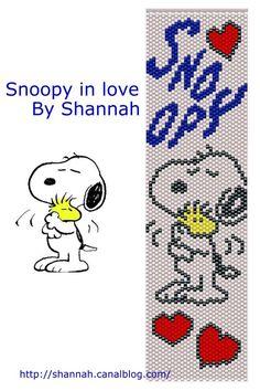 Snoopy in love Bead Crochet Patterns, Peyote Stitch Patterns, Seed Bead Patterns, Beading Patterns, Beaded Bookmarks, Cross Stitch Bookmarks, Loom Bands, Art Perle, 8bit Art