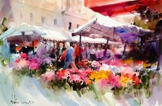Adisorn Pornsirikarn Watercolor Artists, Watercolor Flowers, Watercolor Paintings, Elegant Flowers, Art Themes, Gouache Painting, City Art, Art Market, Medium Art