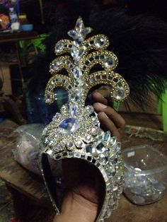 Details about black Beautiful handmade Showgirl Vegas Cabaret Crown Tiara Crystal Headdress Showgirl Costume, Vegas Showgirl, Mardi Gras Costumes, Festival Costumes, Tiaras And Crowns, Crown Jewels, Showgirls, Headdress, Body Jewelry