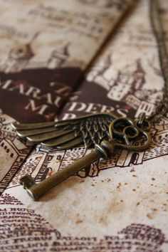 The Marauder's Map-- I sincerely declare that I am up to no good. -from one of the Harry Potter cinema series. Antique Keys, Vintage Keys, Or Antique, Under Lock And Key, Key Lock, Harry Potter Necklace, Old Keys, Key To My Heart, Key Necklace