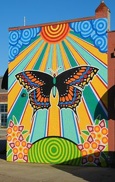 Butterfly Mural welcomes you to downtown Enid, Okla. when you enter from the south on Grand Ave. Butterfly Mural welcomes you to downtown Enid, Okla. when you enter from the south on Grand Ave. Murals Street Art, Street Art Graffiti, Graffiti Murals, Cute Canvas Paintings, Small Canvas Art, Trippy Painting, Mural Painting, Hippie Painting, Art Du Monde