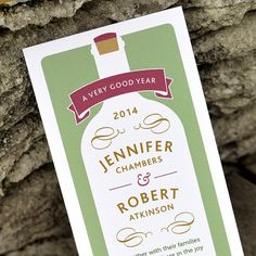 Modern Vineyard Wedding Invitation - 'Wine Bottle' Design - One Sample on Etsy, $3.50