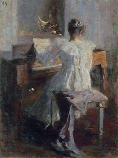 girl and piano by Albert von Keller, German (1844-1920)