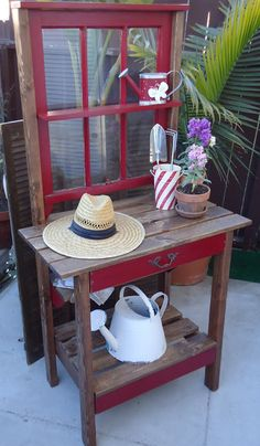 1920s 3-Pane Window Table with Vintage Hardware - SOLD