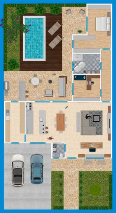 Flat House Design, Sims 4 House Design, Sims House, Pool House Plans, Dream House Plans, Home Building Design, Building A House, Morden House, Tiny Beach House