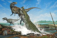 Reaper In Paradise  The giant crocodile, Deinosuchus riograndensis, attacks an Albertosaurs, a smaller relative of the Tyrannosaurus, in Late Cretaceous North America, 75 million years ago.
