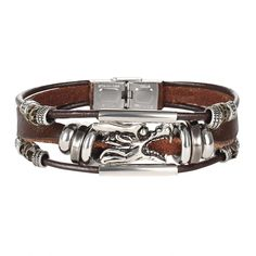 Vintage Dragon Leather Bracelets & Bangles For Women Men Stainless Steel Antique Punk Rock Handmade Jewelry Gifts Trendy Bracelets, Woven Bracelets, Fashion Bracelets, Bangles, Leather Bracelets, Bracelet Men, Jewelry Bracelets, Leather Fashion, Leather Men