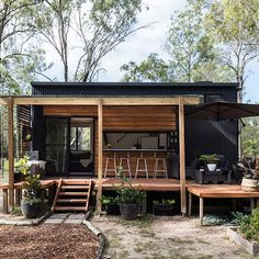 """Teewah"" Tiny Home on Wheels by Aussie Tiny Houses - Dream Big Live Tiny Co. Modern Tiny House, Tiny House Cabin, Tiny House Living, Tiny House On Wheels, Tiny House Design, Wooden House Design, Tiny Cabins, A House, Tiny House For Big Family"