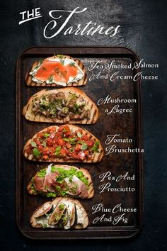 A fun twist on appetizers that will suit everyone's taste. A tartine bar is the perfect party shortcut. Tartine(s) = Jazzy Things on toast! And Tartine Bar = Party on A Monday! Because who doesn't need some jazzy stuff in Use vegan options. This Tartine Clean Eating Snacks, Healthy Snacks, Healthy Recipes, Diet Recipes, Tapas Recipes, Dinner Healthy, Recipes Dinner, Healthy Life, Steak Recipes