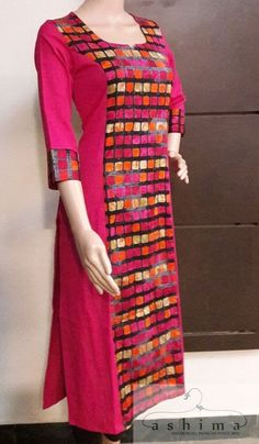 Wide selection of latest designer kurtas, they are a combination of unique designs with colour coordinating kurti sets. Hope you like these designer kurtis patterns. Salwar Neck Designs, Kurta Neck Design, Kurta Designs Women, Dress Neck Designs, Blouse Designs, Churidhar Designs, Simple Kurti Designs, Kurta Style, Kurti Patterns